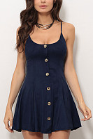 Spaghetti Strap  Backless  Decorative Buttons  Plain  Sleeveless Skater Dresses