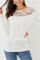 Casual Round Neck Long Sleeve Patchwork Lace Top