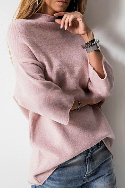 Heap Collar Bell Sleeve Three Quarter Sleeve Sweaters