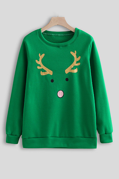 Round Neck Christmas Printed Sweatshirt