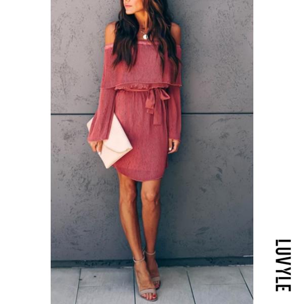 Claret Red Elegant Word Collar Long Sleeve Pure Colour Lace Up Dress Claret Red Elegant Word Collar Long Sleeve Pure Colour Lace Up Dress