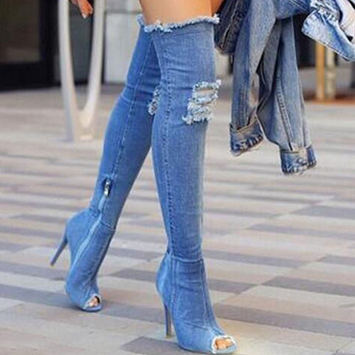 Denim Peep Toe Side Zipper Boots