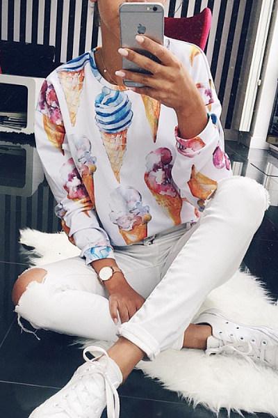 Round Neck  Abstract Print  Sweatshirts