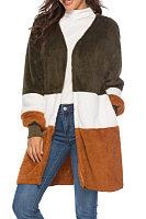 V Neck  Patchwork Outerwear