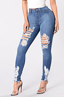 Ripped Denim Pants With Ripped Holes