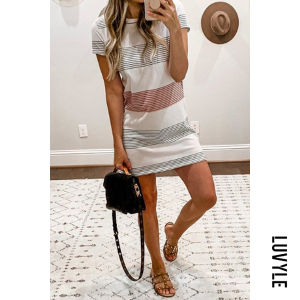 Stripe Round Neck Stripes Short Sleeve Casual Dresses Stripe Round Neck Stripes Short Sleeve Casual Dresses
