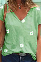 Daisy Printed V Neck T-shirt
