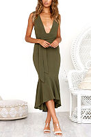 Deep V Neck  Asymmetric Hem  Belt  Plain  Sleeveless Maxi Dresses