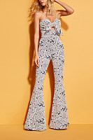Sexy Wrapped Chest Printed Slim Jumpsuits