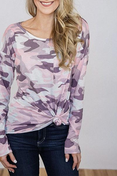 Round Neck  Asymmetric Hem  Camouflage T-Shirts