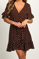 V Neck  Dot  Short Sleeve Skater Dresses