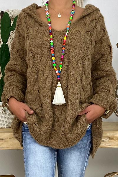 Hat Collar Loose-Fitting Plain Sweater