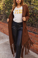 Fold Over Collar  Fringe  Plain Cardigans