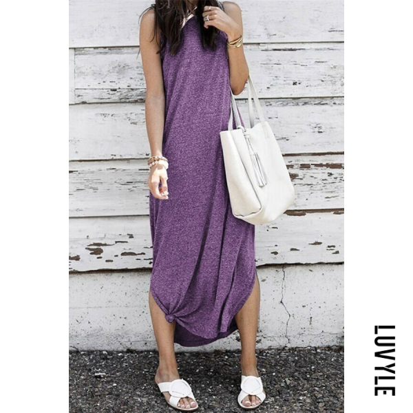 Purple Sleeveless Slit Casual Dresses Purple Sleeveless Slit Casual Dresses