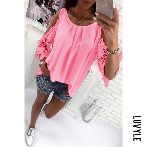 Pink Round Neck Bowknot Patchwork Plain T-Shirts Pink Round Neck Bowknot Patchwork Plain T-Shirts