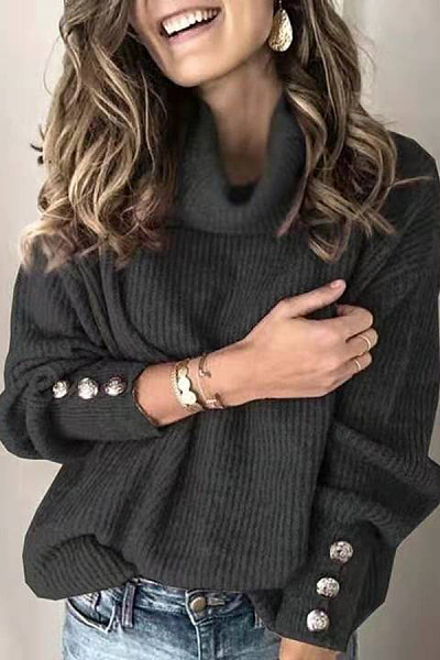Casual solid color high collar decorative buckle female sweater