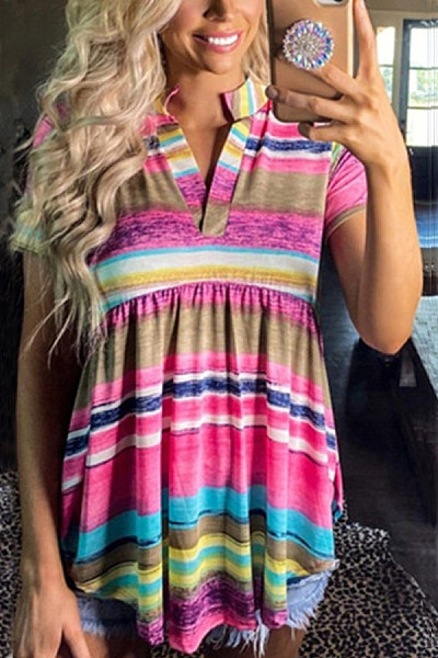 Coloring Striped V Neck T-shirt