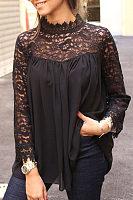 Lace Chiffon Patchwork Long Sleeve Elegant Blouses