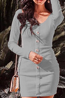 Round Neck  Single Breasted  Plain  Long Sleeve Bodycon Dresses