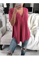 V Neck Short Sleeve Plain Asymmetrical Hem Blouses