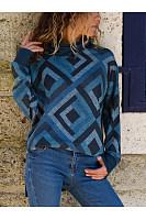 Geometric Printed Casual Long Sleeve High Collar Knit Top