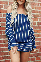 Off Shoulder  Striped  Sweatshirts