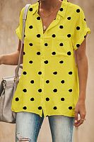 V Neck  Single Breasted  Dot  Blouses