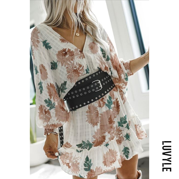 Same As Photo Cute V Neck Long Sleeve Floral Mini Dress Same As Photo Cute V Neck Long Sleeve Floral Mini Dress
