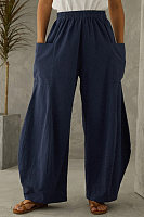 Solid color elastic waist casual trousers