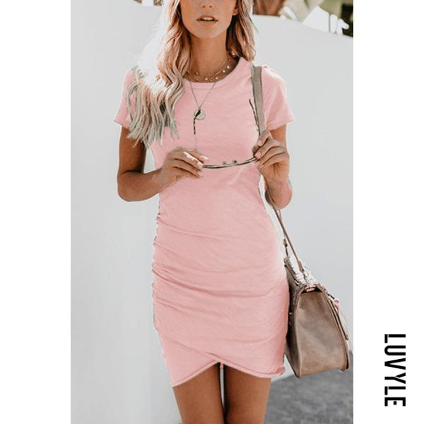 Pink Crew Neck Asymmetric Hem Plain Short Sleeve Bodycon Dresses Pink Crew Neck Asymmetric Hem Plain Short Sleeve Bodycon Dresses