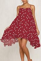 Spaghetti Strap  Loose Fitting  Dot  Sleeveless Skater Dresses
