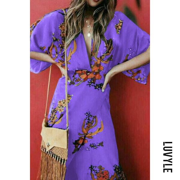 Purple Deep V Neck Floral Batwing Sleeve Slit Chinese Style Maxi Dresses Purple Deep V Neck Floral Batwing Sleeve Slit Chinese Style Maxi Dresses