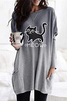 Casual Cat Print Gradient Pocket T-shirt
