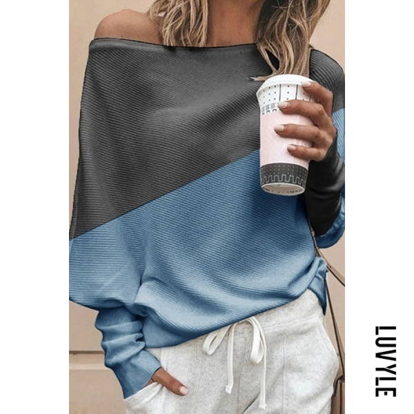 Blue Casual Off-The-Shoulder Loose Stitching Contrast Color Long-Sleeved T-Shirt Blue Casual Off-The-Shoulder Loose Stitching Contrast Color Long-Sleeved T-Shirt