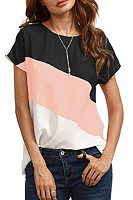 Round Neck Color Block T-shirt