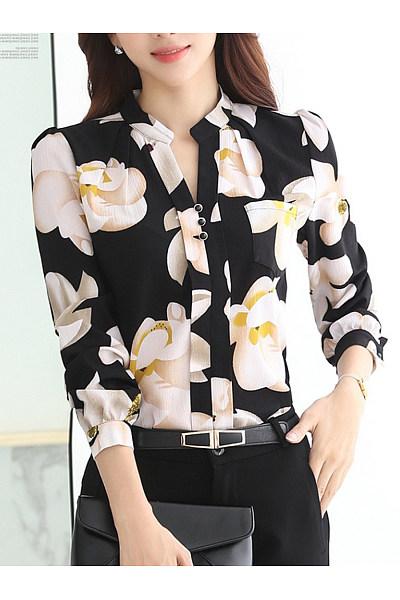 Split Neck Floral Printed Long Sleeve T-Shirt