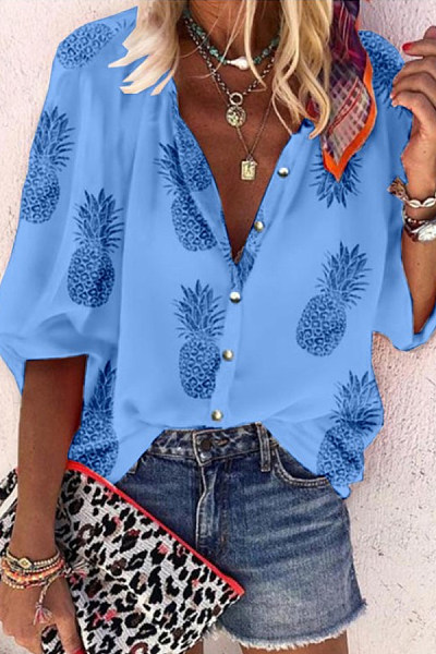 Casual Printed Long-Sleeve Blouses