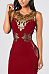 Round Neck  Zipper  Embroidery Hollow Out Plain Bodycon Dresses
