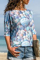 Seaside Casual Digital Print Fish Scale T-Shirt