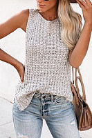 Casual Round Neck Solid Color Sleeveless Knit Vest