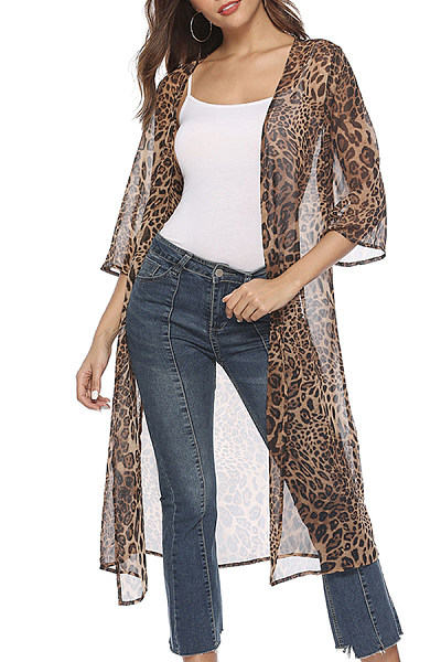 100f37d5e34e Snap Front Leopard Printed Cardigans - Luvyle.com
