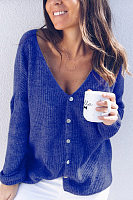 Casual V Neck Long Sleeve Plain Cardigans