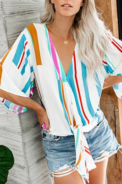 Womens Loose Casual Color Striped V-Neck Five-Points Sleeve Shirts