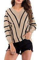 V  Neck  Striped  Basic Sweaters