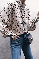 Fashion Vertical   Collar Point Printing Long-Sleeved Loose Chiffon Blouses