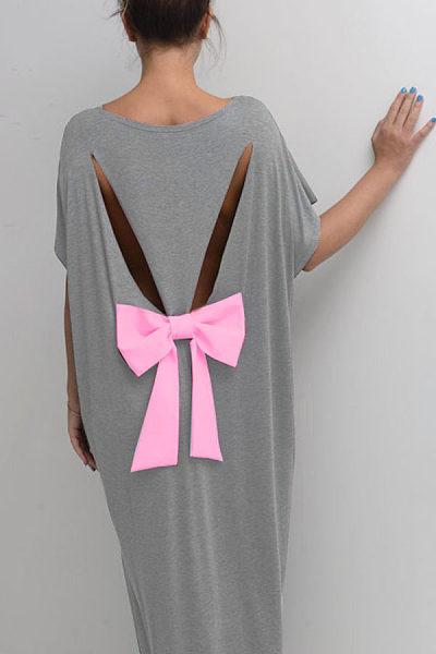 Round Neck  Bowknot Cutout  Patchwork Maxi Dresses