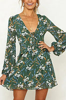 Deep V Neck  Floral Printed  Long Sleeve Casual Dresses