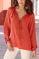 V Neck  Lace Up  Plain  Blouses