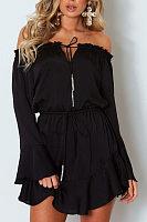 Off Shoulder  Belt  Plain  Bell Sleeve  Long Sleeve Casual Dresses