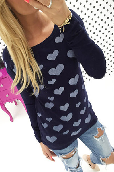 Round Neck  Zipper Heart  Printed T-Shirts